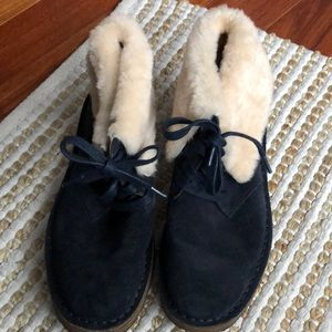 COACH FLAT WOOL ANKLE TOP VELVET  LACE UP BOOTIES